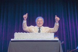 The program ended with Tony Bennett receiving a birthday cake. Photo by Russell Jenkins for Ravinia