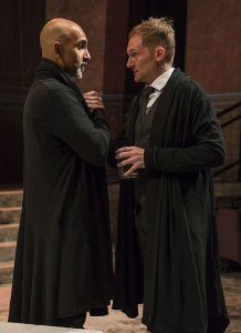 Kareem Bandealy (Brutus) l, and Scott Parkinson (Cassius) r. in Julius Caesar at Writers Theatre. Photo by Michael Brosilow