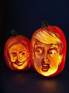 Hugh McMahon carves celebrity and other images in pumpkins