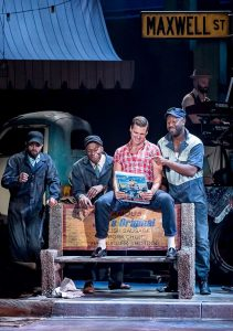 "Justin Keyes, Chris Sams, Will Skip and Tyrone L. Robinson in ""Smokey Joe's Café"" at Drury Lane. Photo by Brett Beiner"