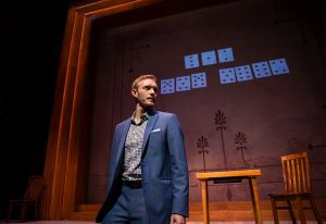 Magician/actor Brett Schneider in the world premiere of 'The Magic Play' by Andrew Hinderaker at Goodman Theatre Photo by Liz Lauren