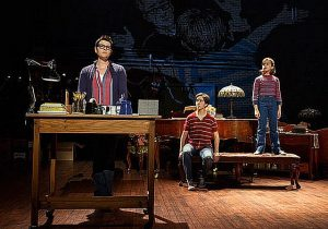 """Fun Home"" at Oriental Theatre with Kate Shindle (Adult Alison) l, Abby Corrigan (Middle Alison) and Alessandra Baldacchino (Small Alison) Photo by Joan Marcus"