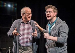 Richard (Francis Guinan) and son Craig Hollander (Adam Wesley Brown) talk about the letters in Act II of 'The Book of Joseph.' Photo by Liz Lauren.