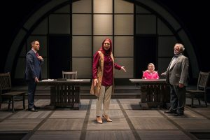 'Timothy Edwards Kane (L to R), Susaan Jamshidi, Lindsay Stock and Ross Leman in 'Faceless at Northlight Theatre