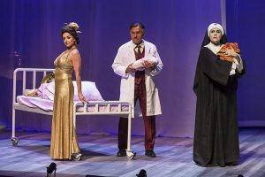 Ruth Livier (Fabiola Castillo), Ricardo Gutierrez (Dr. Jorge Mendoza) and Evelina Fernandez (Sister Sonia) in 'Destiny of Desire' at Goodman Theatre. Photo by Liz Lauren