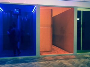 'Helio Oiticia' exhibit at the Art Institute of Chicago encourages viewers to be participants. Yes, there is a person walking through the blue room. Photos by Jodie Jacobs