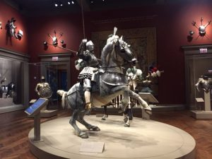 "Two armored horses and riders dominate a great hall in ""Saints and Heroes: Art of Medieval and Renaissance Europe"" at the Art Institute of Chicago. Jodie Jacobs photo"