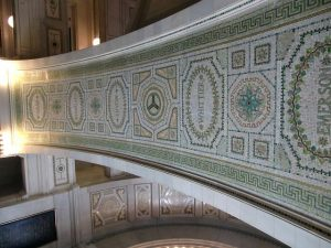 Gorgeous tiles line the staircase and walls of the Chicago Cultural Center at the Washington Street entrance.