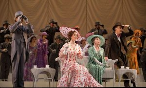 Eliza Doolittle (Lisa O'Hare) and Mrs. Higgins (Helen Carey) and cast at Ascot. Todd Rosenberg Photography