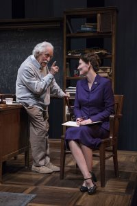 Mike Nussbaum (Albert Einstein) and Katherine Keberlein (Margaret Harding) in 'Relativitiy' at Northlight Theatre. Michael Brosilow photo