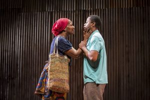 Luopu Workolo (Lily Mojekwu) makes son Shedrick Kennedy Yakpai (Daniel Kyri) promise to do whatever necessary to survive as he leaves Liberia for a safe country. Photo by Liz Lauren