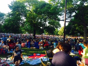 Ravinia Festival's lawn is a great place to meet friends for an after-work supper.