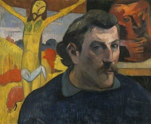 "Paul Gauguin 1890-91 ""Portrait of the artist with the Yellow Christ"" Musee d'Orsay. Photo thanks to Art Institute of Chicago"