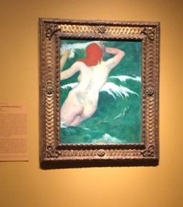 "Paul Gauguin, 1889 ""In the Waves (Ondine l). Photos taken at the exhibit by Jodie Jacobs"