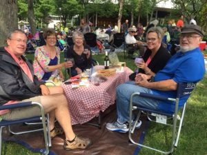 The Nelson family, Jeffrey, Laura, Eileen, Wendy and Roger, arrived at Ravinia early to chat and find a choice picnic spot, Sunday.