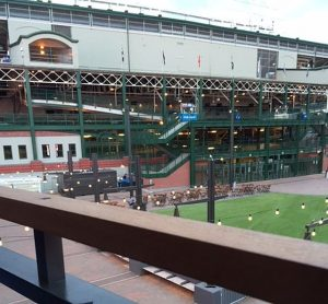 Brickhouse Tavern's upstairs deck overlooks The Park at Wrigely. Jodie Jacobs Photo