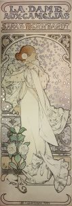 "Alphonse Mucha "" Sarah Bernhardt as ""La dame aux Camelias,"" 1896, color lithograph. John Faier photo."