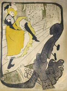 "Henri de Toulouse-Lautrec ""Jane Avril"" 1893, color lithograph. John Faier Photo"