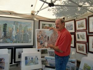 Artist Mark McMahon who usually sells from his studio and on commission, can be found at a corner of Lake Forest's annual Art on the Square.