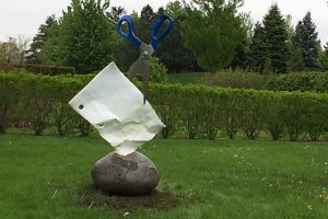 "Artist Kevin Box origami sculpture: ""Rock Paper Scissors at Morton arboretum."