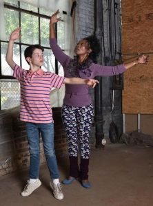 Jacob Kaiser and Shanesia Davis in 'Billy Elliot' at Porchlight Music Theatre. Photo by Michael Courier