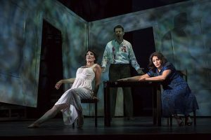 Audrey Babcock (Secretary), Justin Ryan (John Sorel) and Patricia Racette (Magda Sorel) in 'The Consul', a Chicago Opera theater production. Liz Lauren photo