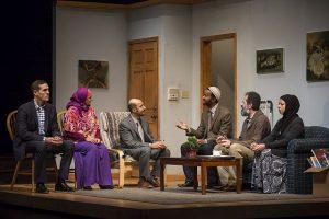 Michael Perez (Sam) Laura Crotte (Sara), Amro Salama (Ali), Allen Gilmore (Iman Kareem), rom Barkhordar (Musa) and Susaan Jamshidi (Yasmina) in 'Yasmina's Necklace' at Goodman Theatre.