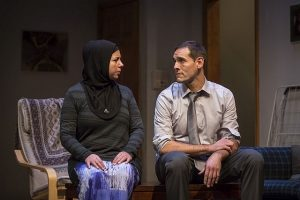 Susaan Jamshidi (Yasmina) and Michael Perez (Sam) in 'Yasmina's Necklace' at Goodman Theatre. Liz Lauren photos