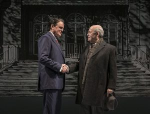 Rob Riley (Ronald Reagan) and William Dick (Mikhail Gorbachev) in 'Blind Date' by Rogelio Martinez, directed by Robert Falls at Goodman Theatre