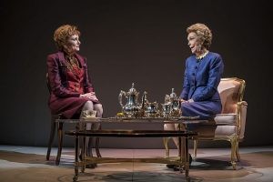 Mary Beth Fisher (Raisa Gorbachev) and Deanna Dunagan (Nancy Reagan). Coodman Theatre