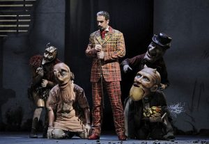 Christian Van Horn as Méphistophélès and his demons in Faust at Lyric Opera.