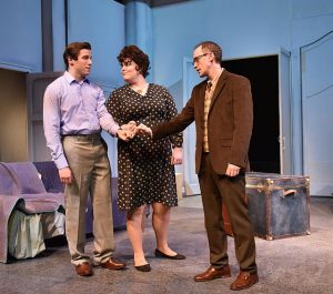 (L to R) Jim DeSelm (Frank, Neala Barron (Mary) and Matt Crowle (Charley) in 'Merrily We Roll along' at Portchlight Music Theatre. Photo by Michael Courier.