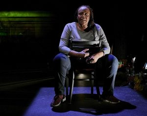 Dael Orlandersmith in Until the Flood at Rattlestick Playwrights Theater, NY. (Photo by Robert Altman)