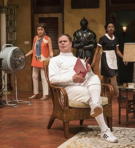 Sandra Marquez (Theresa Irdley) frm left, Rainn Wilson (Thoman Irdley/Jimmy Peterson) and Celeste M. Cooper (Rosie Guerekoyame) in The Doppelganger at Steppenwolf.