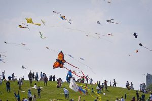 Kites fly high over Lincoln Park during Kids and Kites Festival. Photo courtesy of City of Chicago