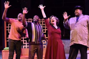 (L to R) Gilbert Domally (Gator), James Earl Jones II (Bobby), Nancy Wagner (Gladys Calhoun) and Lorenzo Rush (Delray Jones) in Memphis at Porchlight Music Theatre.