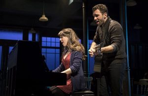 "Tiffany Topol (Girl) and Barry DeBois (Guy) perform the Oscar-winning song ""Falling Slowly"" in Once, at the Paramount Theatre in Aurora. (Liz Lauren photos)"