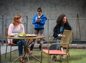 L to R, Darci Nalepa, Laura Lapidus and Kristina Valada-Viars in Cry It Out at Northlight Theatre.