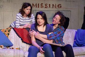 L to R front, Clara Byczkowski and Tricia Rogers, Standing, Katherine Swan in Girl found at Idle Muse theatre. (Photo by Steven Townshend)