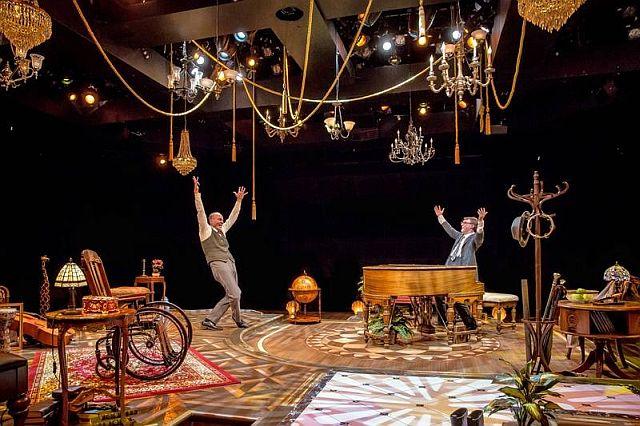 Jason Grimm, l, and Noel Carey in Murder for Two at Marriott Theatre. (Liz Loren photo)