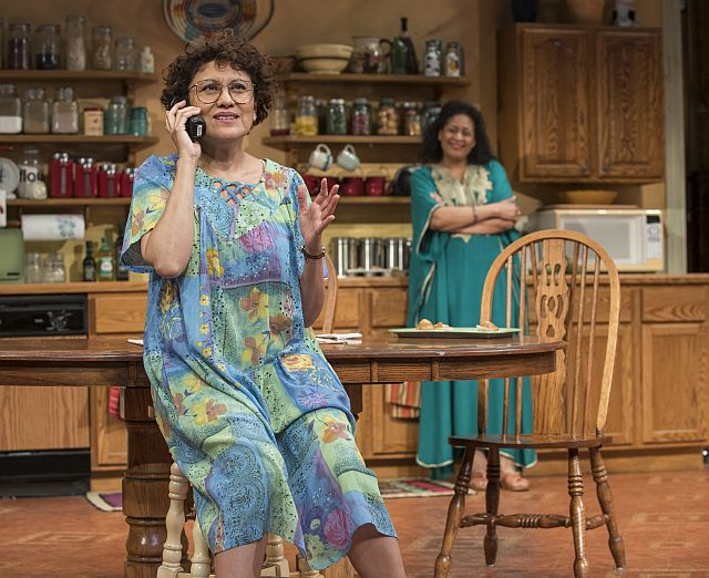 Sandra Marquez (Sharon) l, and Ora Jones (Robyn) in The Roommate st Steppenwolf (Photos by Michael Brosilow)