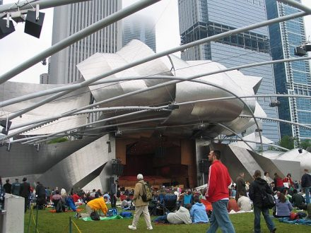 Jay Pritzker Pavilion is a concert venue in Millennium Park designed by Fran Gehry. (J Jacobs photo)