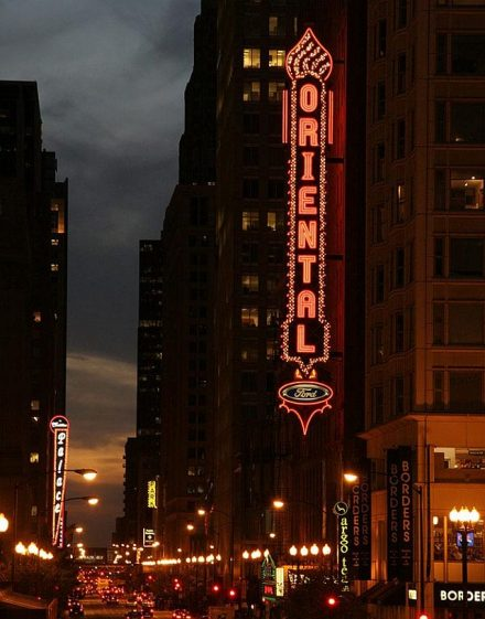Ford Oriental Theatre in the foreground and Cadillac Palace Theatre in the background are two Broadway in Chicago venues. (Broadway in Chicago photo)