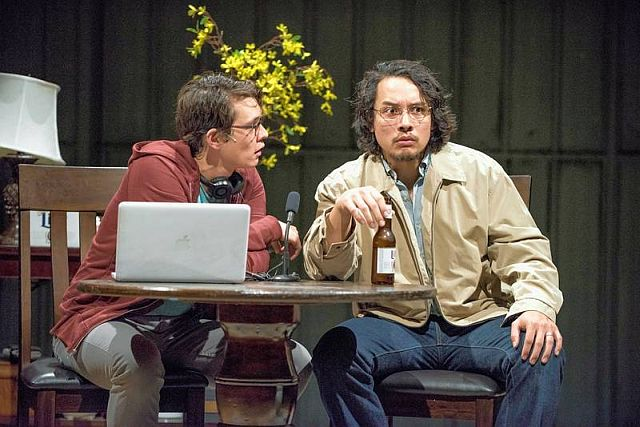 The playwright (Ian Michael Minh), left, interviews his father Quang (Matthew C. Yee) in 'Vietgone.' (Michael Brosilow photo)