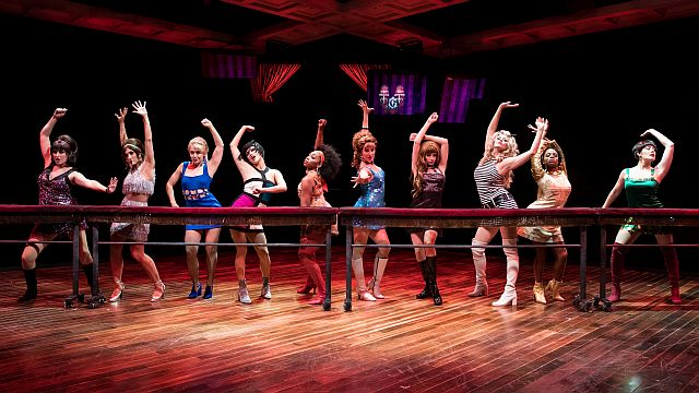 The cast of 'Sweet Charity' goes into the 'Big Spender' song and dance number. (Photo by Justin Barbin)