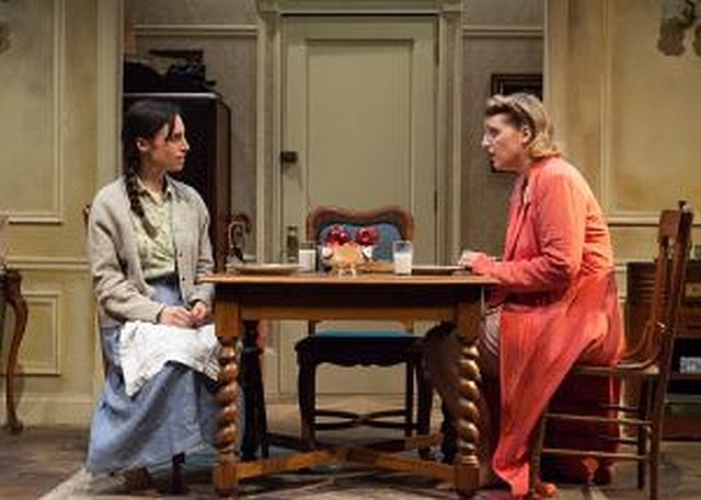Lusia (Emily Berman) left, and Rose (Bri Sudia) are two sisters trying to reconnect after years of separation brought on by the Holocaust. (Photo by Lara Goetsch)