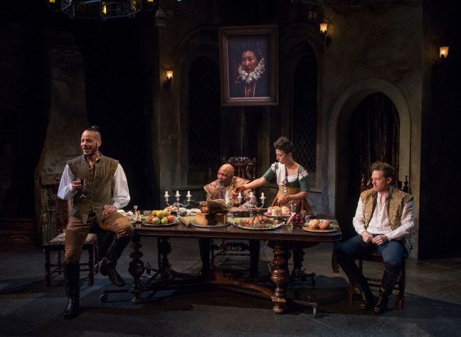 Jon Hudson Odom (Frank Thorny), l, David alan Anderson (Sir Arthur), Arti Ishak (Winnifred) and Steve haggard (Cuddy) in 'Witch' at Writers Theatre. (Michael Brosilow photo)