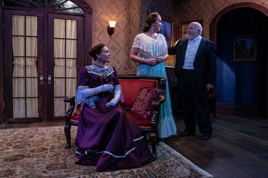 Saren Nofs Snyder (Regina Giddens), Alicia Kahn (Birdie Hubbard) and Thom Thomas (Ben Hubbard) in the Little Foxes at Citadel Theatre. (Photo by North Shore Camera Club)