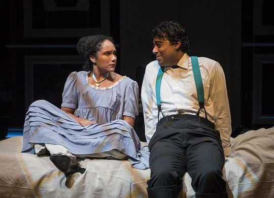 Kayla Carter (Fanny Price) and Gabriel Ruiz (Edmund) discuss life in Mansfield Park at Northlight Theatre.