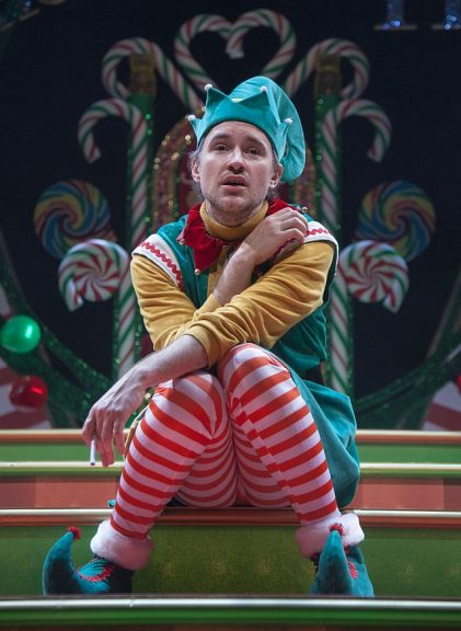 Matt Crowle as Crumpet the Elf in the Santaland Diaries at Goodman Theatre. (Erik Erik Scanlon photo)